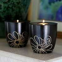 Mango wood candleholders,