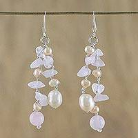 Pearl and rose quartz waterfall earrings, 'Sweetheart' - Pearl and Rose Quartz Dangle Earrings