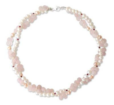 Pearl and rose quartz choker
