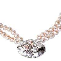 Pearl long pendant necklace, 'Three Kingdoms' - Pearl long pendant necklace