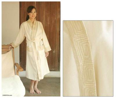 Cotton robe, 'White Chocolate' - Women's Cotton Robe