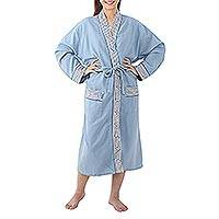 Cotton robe, 'Gray Day' - Thai Cotton Robe