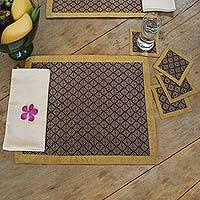 Silk and cotton table linens, 'Royal Purple' (set for 4) - Silk and cotton table linens (Set for 4)