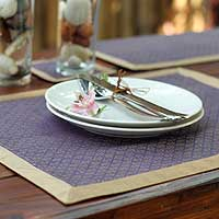 Silk and cotton table linens, 'Golden Amethyst' (set for 4) - Fair Trade Silk Table Linens (Set for 4)