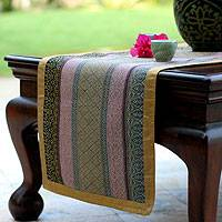 Silk and cotton table runner, 'Living Color' - Artisan Crafted Silk Table Runner