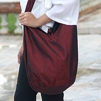 Silk and cotton shoulder bag, 'Hill Tribe Cherry Chic' - Silk and cotton shoulder bag