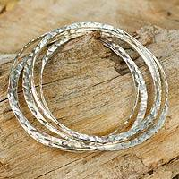 Sterling silver bangle bracelets, Olympian (set of 5) - Modern Sterling Silver Bangle Bracelets (Set of 5)