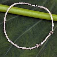 Rose quartz choker, 'Filigree Butterflies' (Thailand)