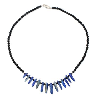 Onyx and Lapis Lazuli Beaded Choker