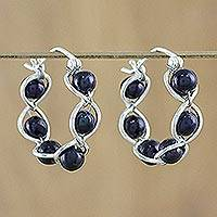 Pearl hoop earrings, Shadow Twist