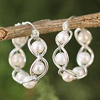 Cultured pearl hoop earrings, 'Cloud Twist' - Sterling Silver and Pearl Hoop Earrings