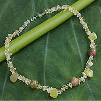 Citrine and jasper strand necklace,