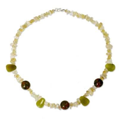 Citrine and jasper strand necklace