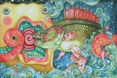 'The Colors of the Underwater World I' - Acrylic Surrealist Painting