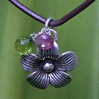 Peridot and tourmaline choker, 'Apple Blossom' - Peridot and tourmaline choker