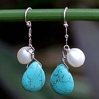 Pearl dangle earrings, 'White Cloud' - Pearl dangle earrings