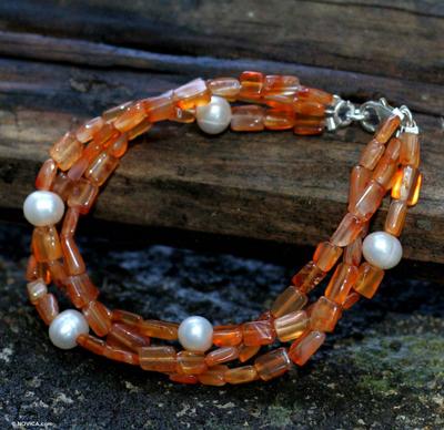 Handmade Beaded Carnelian and Pearl Bracelet