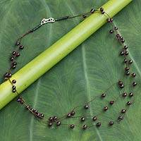 Garnet and jade waterfall necklace, 'Cranberry' - Handcrafted Garnet Beaded Necklace from Thailand