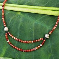 Onyx and carnelian long strand necklace,