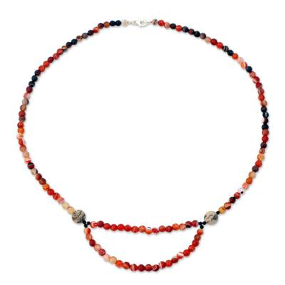 Onyx and Carnelian Strand Necklace