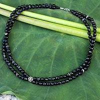 Onyx strand necklace, 'Profound' - Unique Beaded Onyx Necklace