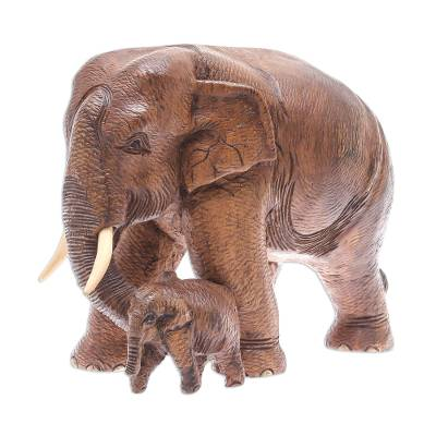 Thai Teakwood Elephant Sculpture