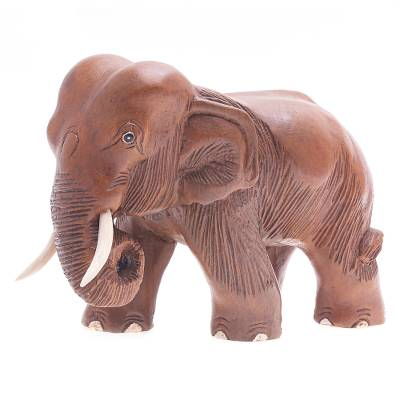 Artisan Crafted Natural Wooden Hand Carved Elephant Sculpture