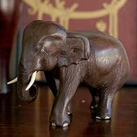 Wood sculpture, 'Powerful Elephant' - Original Wood Elephant Sculpture