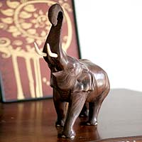Wood sculpture, 'Trumpeting Elephant' - Wood sculpture