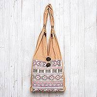 Cotton sling bag, 'Infinite Happiness' - Cotton sling bag