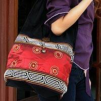 Silk and cotton sling tote, 'Oriental Red' - Handcrafted Thai Cotton and Silk Shoulder Bag