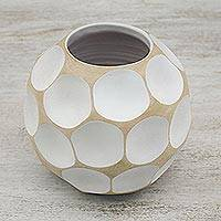 Mango wood vase, 'White Soccer Ball' - Mango wood vase