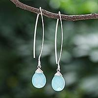 Chalcedony dangle earrings, 'Sublime' - Hand Made Sterling Silver and Chalcedony Earrings