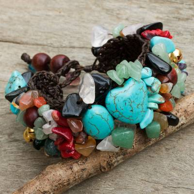 Multi-gem beaded bracelet, 'Festive Heart' - Beaded Multigem Bracelet