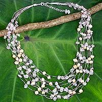 Pearl and rose quartz strand necklace, 'Cascade' - Unique Pearl and Rose Quartz Beaded Necklace