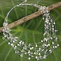 Pearl and quartz strand necklace, 'Cascade' - Handmade Bridal Beaded Quartz and Pearl Necklace