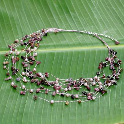Pearl and tourmaline strand necklace, 'Cascade' - Beaded Tourmaline and Pearl Necklace