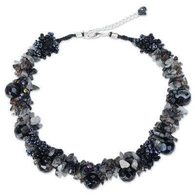 Agate and Quartz Beaded Necklace