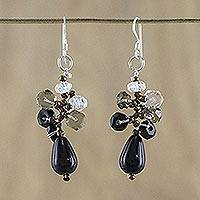Agate and quartz cluster earrings, 'Glistening Sophistication' - Handmade Thai Dangle Agate Earrings