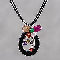 Leather and onyx pendant necklace, 'Lush Cosmos' - Leather and onyx pendant necklace