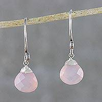 Rose quartz dangle earrings, 'Subtle' - Rose Quartz and Silver Earrings