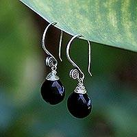 Onyx dangle earrings, 'Subtle'