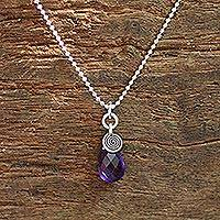 Amethyst pendant necklace, 'Subtle'