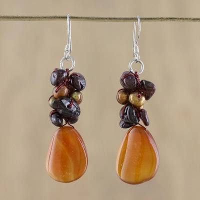 Pearl and garnet cluster earrings, 'Blossoming Sun' - Pearl and Garnet Dangle Earrings