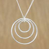 Sterling silver pendant necklace, 'Inner Circle' - Sterling silver pendant necklace