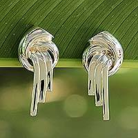 Sterling silver button earrings, 'Waterfall' - Hand Made Sterling Silver Button Earrings