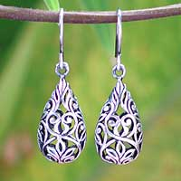 Sterling silver dangle earrings, 'Forest Tear' (Thailand)