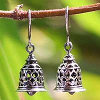 Sterling silver dangle earrings, 'Temple Bell' - Bell Shaped Sterling Silver Dangle Earings