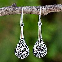 Sterling silver dangle earrings, 'Forest Fern'