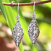 Sterling silver dangle earrings, 'Forest Star' - Unique Sterling Silver Dangle Earrings